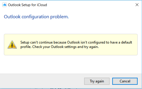 Icloud Control Panel - won't connect to Outlook -