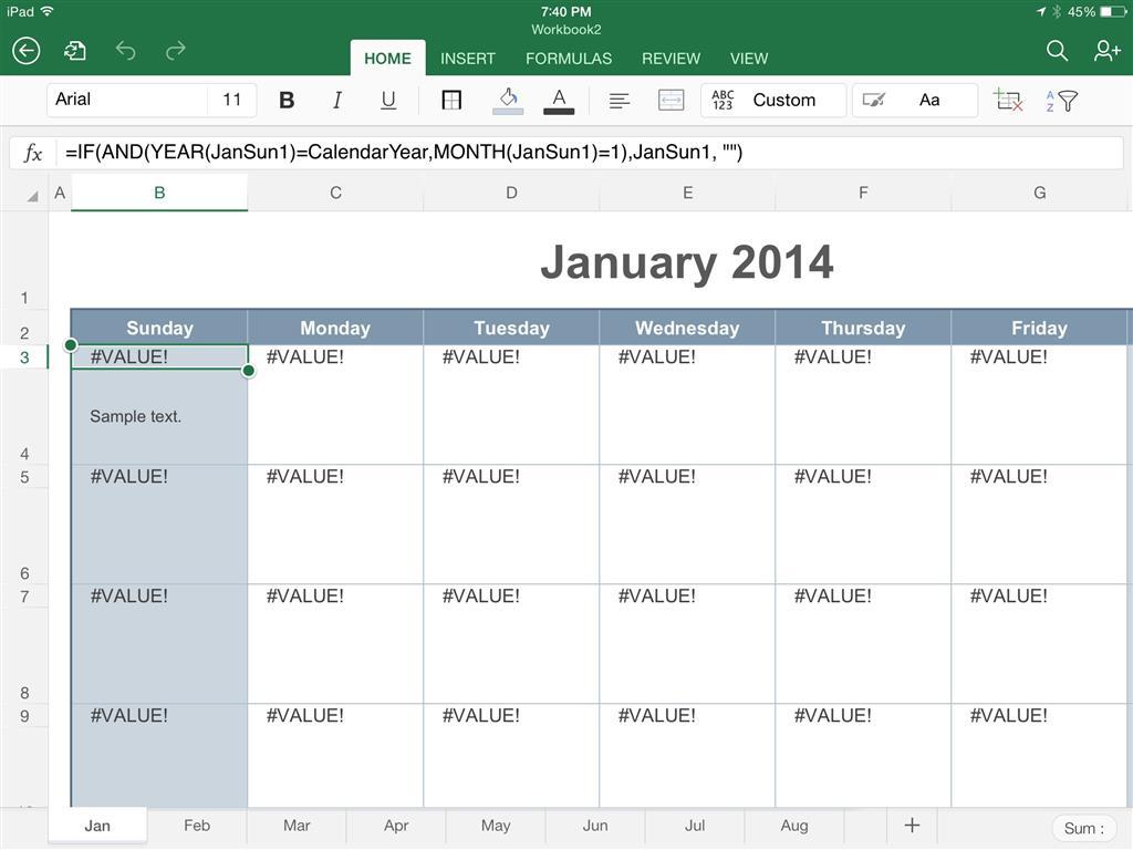 Office 20 App for iPad formulas won't work in calendar template ...