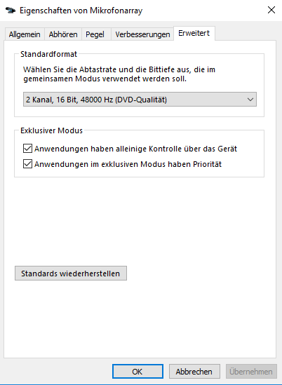 Internal Realtek microphone array not working in Windows 10