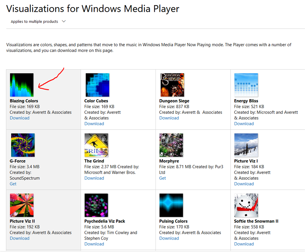 we suggest downloading it from here visualizations for windows media player
