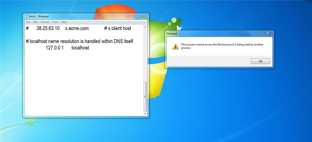 Cannot edit and save hosts file because