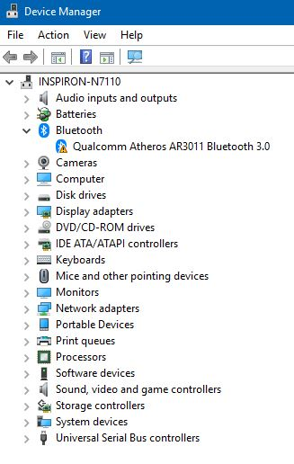 Windows 10 (version 1709) Qualcomm Atheros AR3011 Bluetooth
