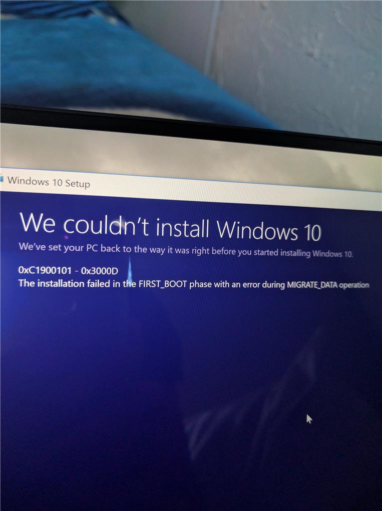 Windows 10 Update Error 0xC1900101 - 0x3000D  Installation failed in
