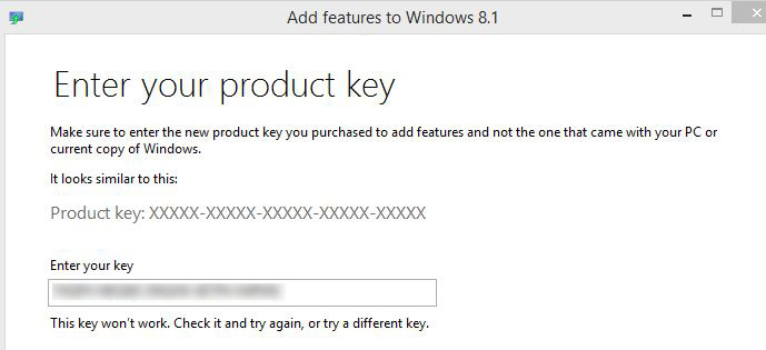 windows 8 add features product key