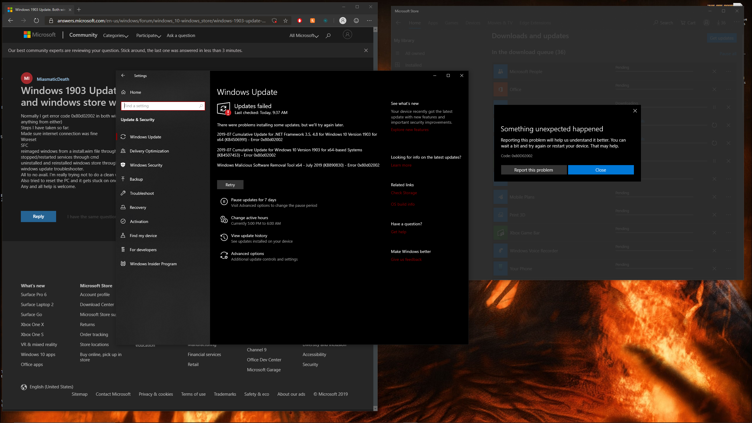Try These Feature Update To Windows 10 Version 1903 Error 0x80d02002