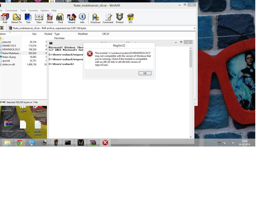 How do I register MSWINSCK OCX file on Windows 8