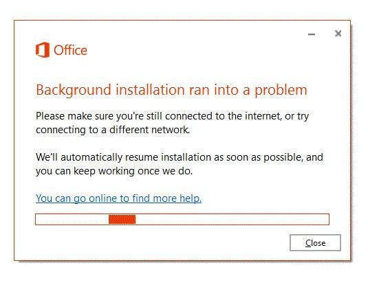 microsoft background installation ran into a problem