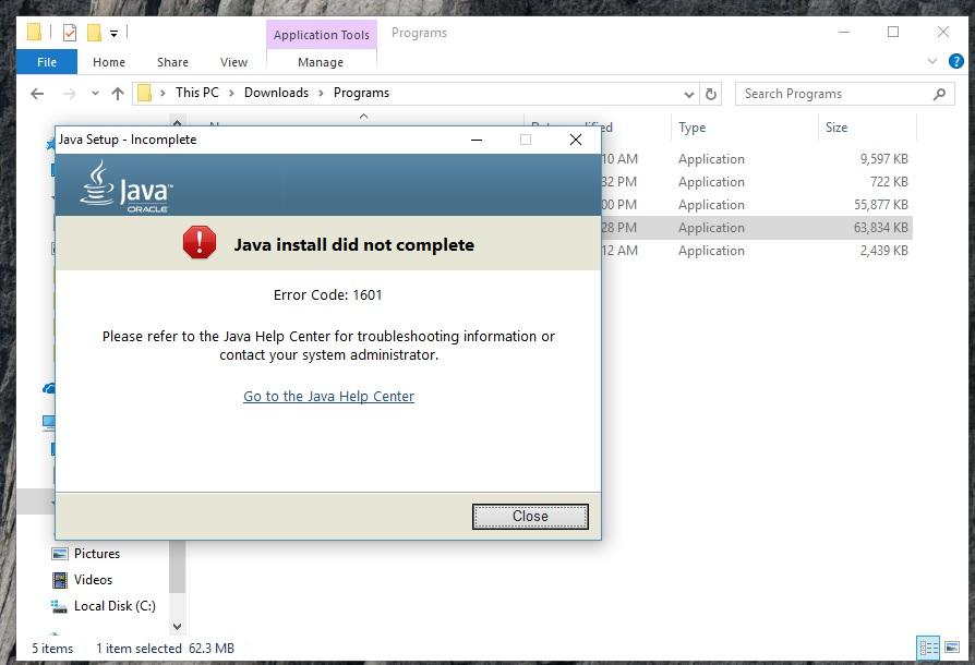 java error 1601 - Microsoft Community