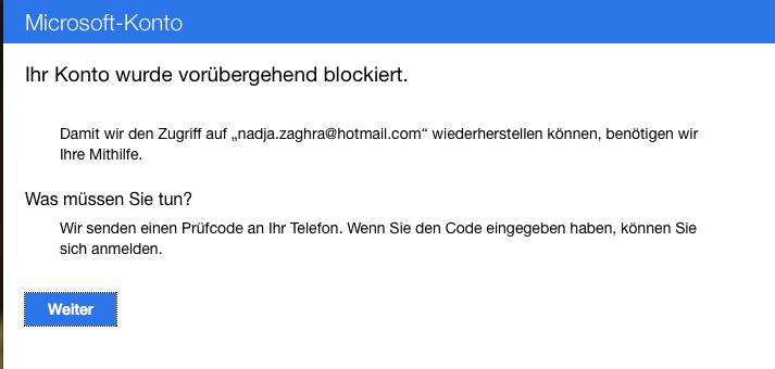 Email Account Gesperrt