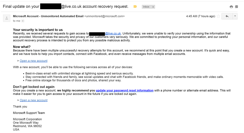 microsoft account team recover account email