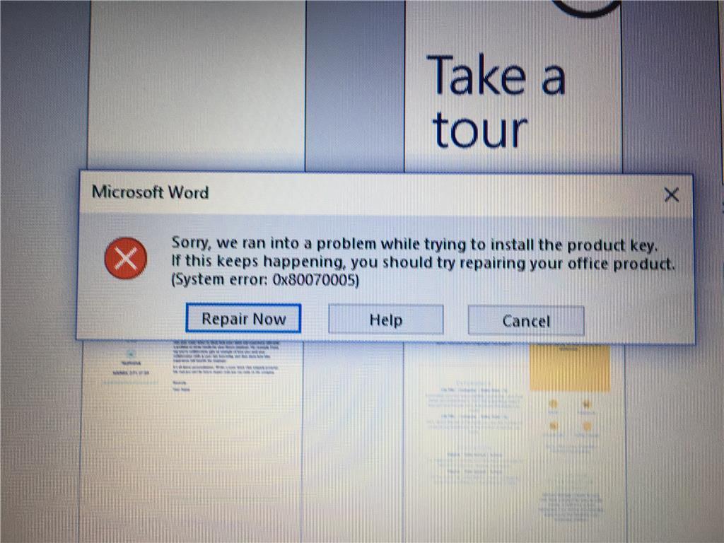 Office 365 School Activation Error: 0x80070005 - Microsoft