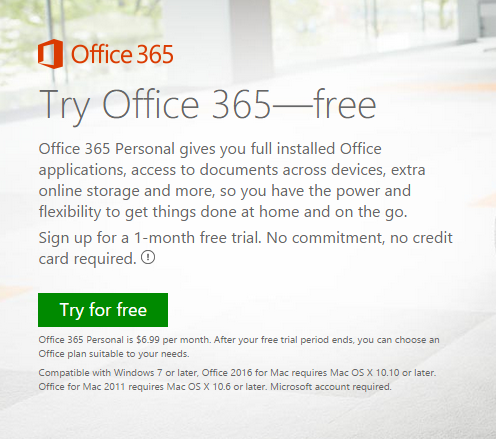 microsoft office 2016 1 month free trial