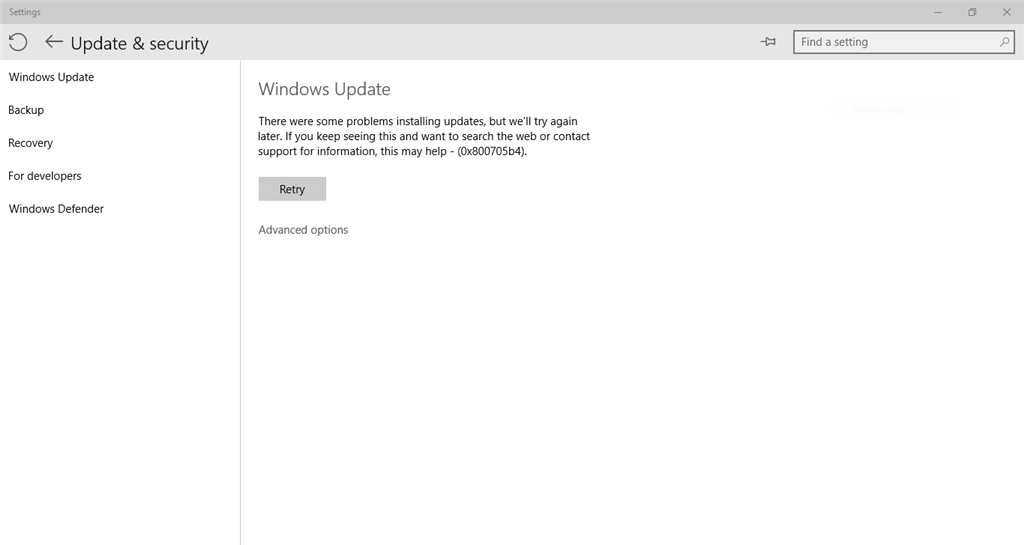 Windows 10 pro insider preview build 10074 error on checking for i check for new windows update but it is unable to check for updates giving the error code 0x800705b4 i tried using windows update troubleshooter ccuart Images