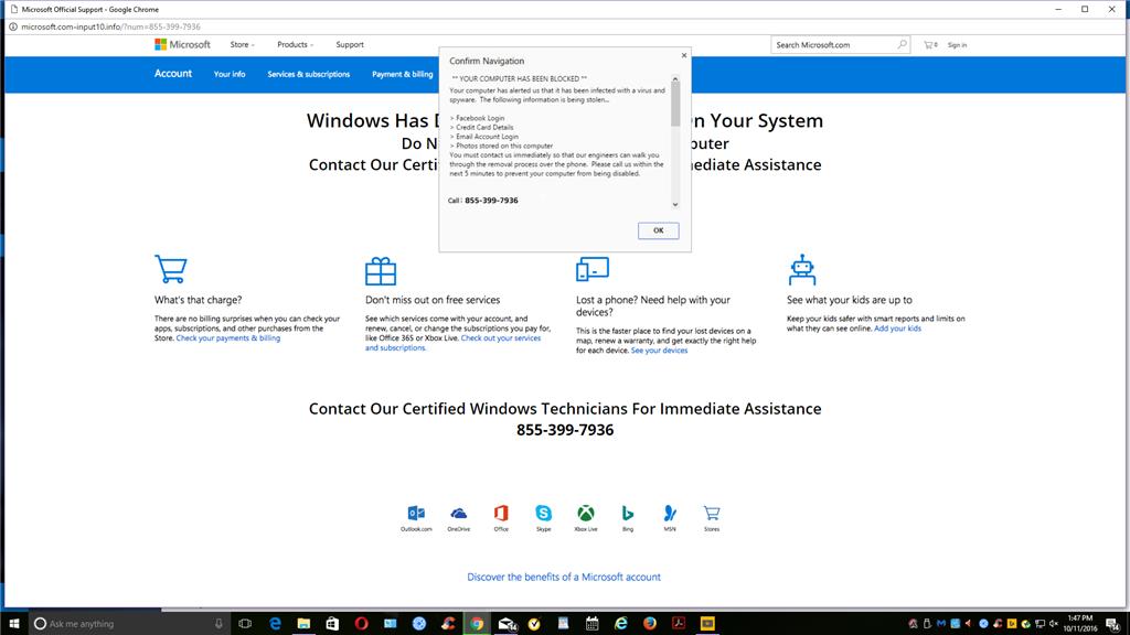 Fake Microsoft Security Warning Microsoft Community