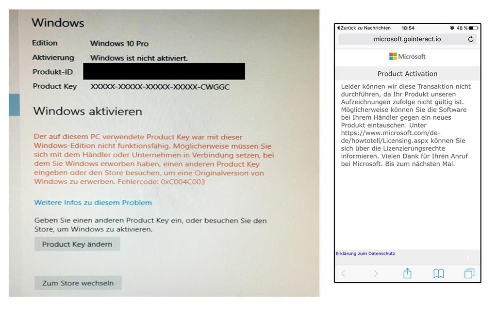 Windows lasst sich nicht aktivieren