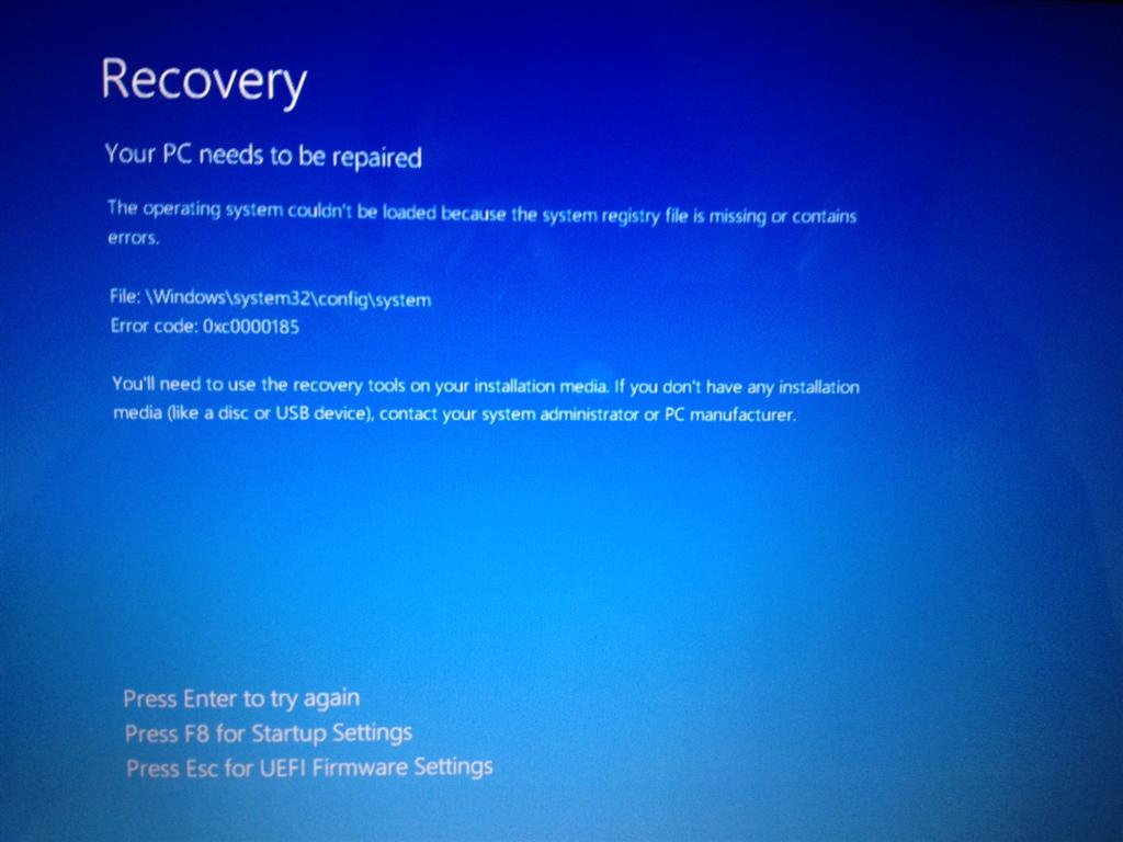 Windows 8 Error Code: 0xc0000185 - Microsoft Community
