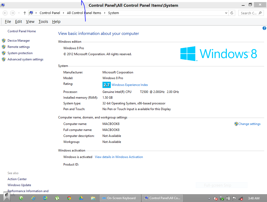 windows 8 isnt activated