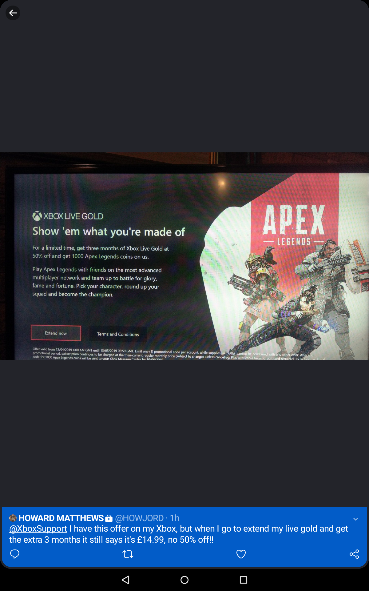 3 month gold 50% off free 1000 apex coins - Microsoft Community