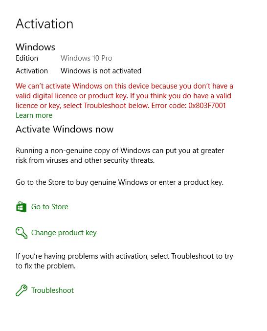 Windows 10 Pro Enormer Aktivierungsfehler