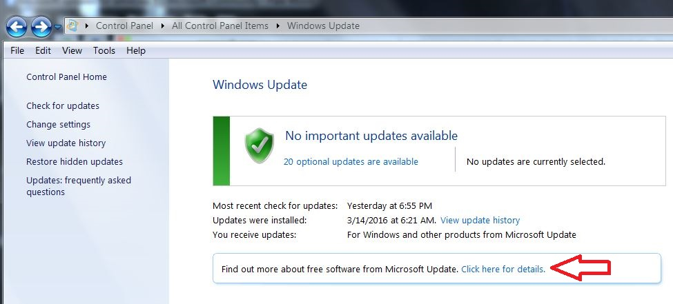 find out more about free software from microsoft update