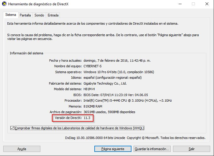 directx 11.2 pour windows 10