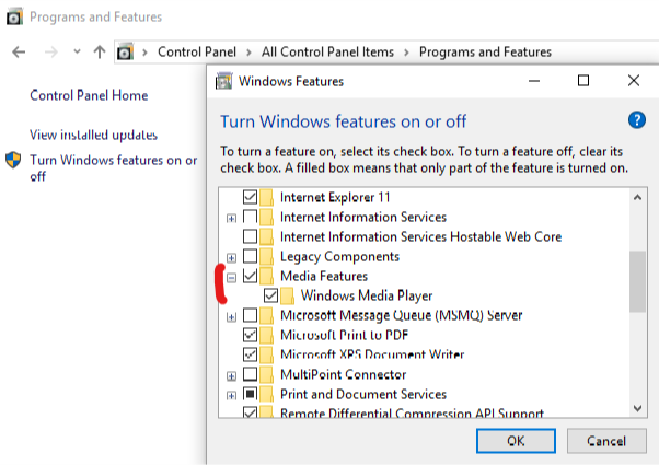 Windows Media Feature Pack installation fails 1803