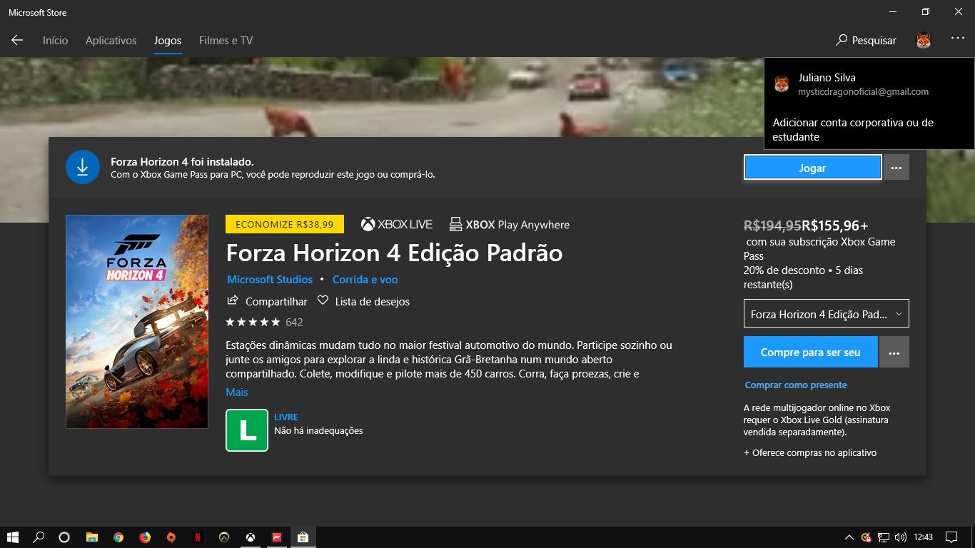 Meu Forza Horizon 4 está dando o erro ''Você não pode continuar sem estar conectado a um... [IMG]