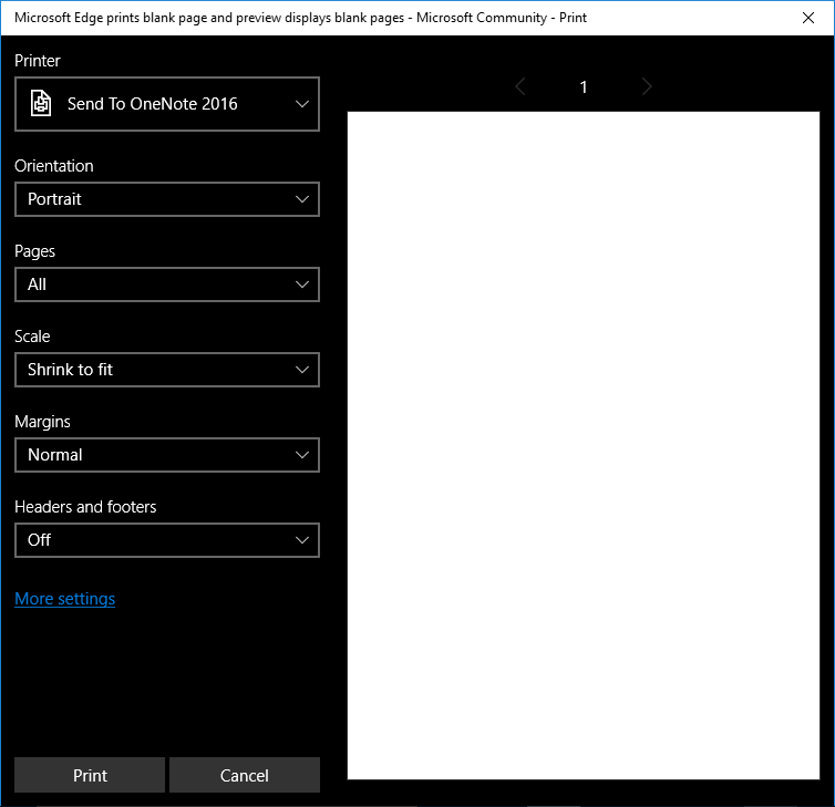 Microsoft Edge prints blank page and preview displays blank