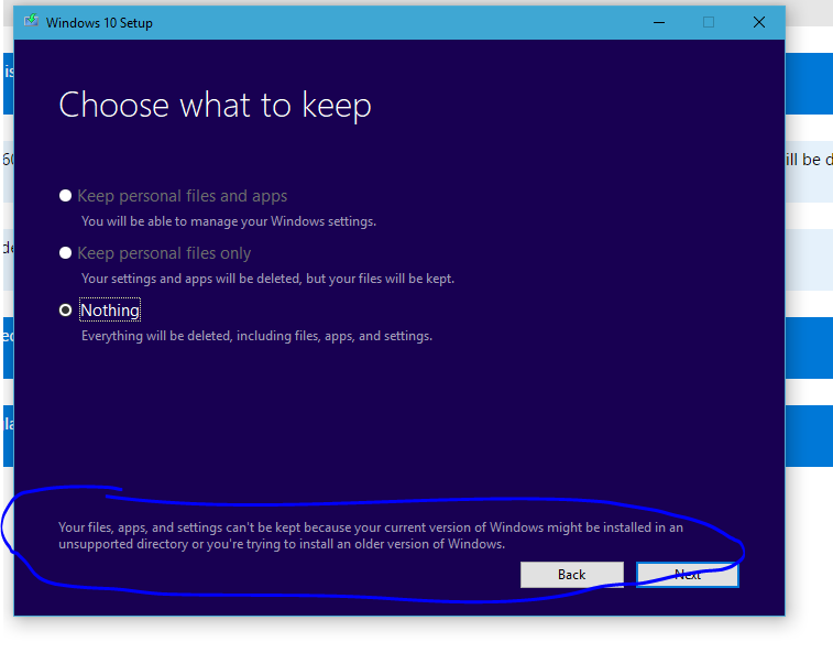 Can't Keep my files while Installing Old version of windows