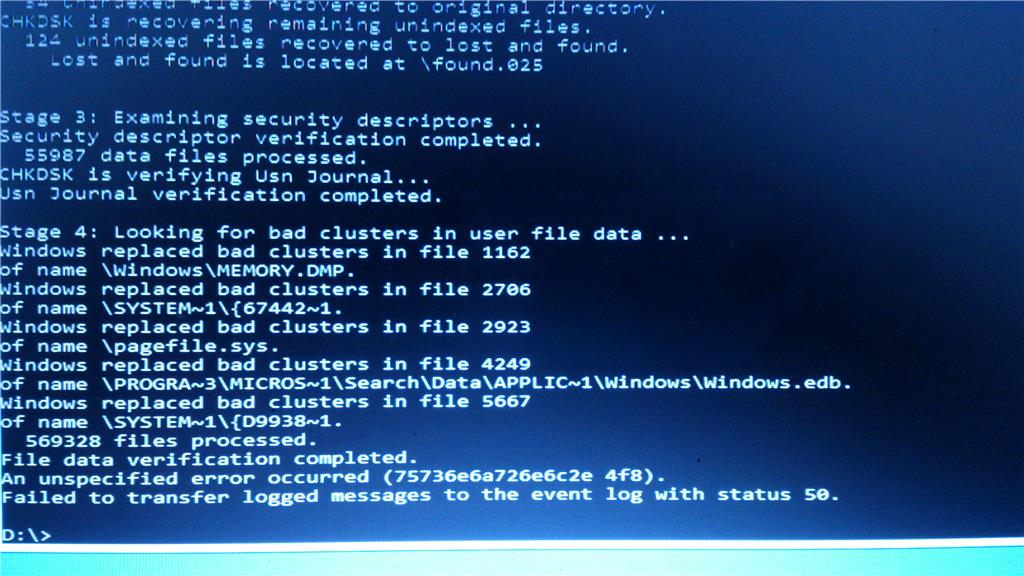 CHKDSK - an unspecified error occurred (75736e6a726e6c2e 4f6