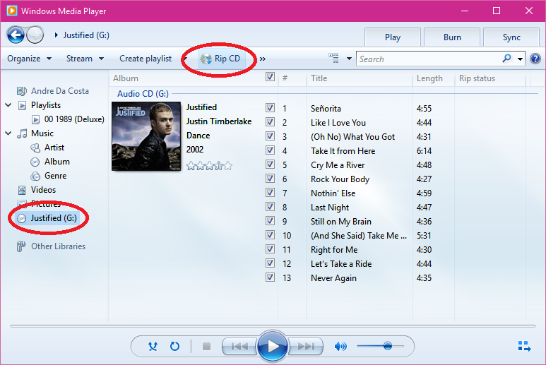 How to: Rip a Audio Disc in Windows 10 using Windows Media Player