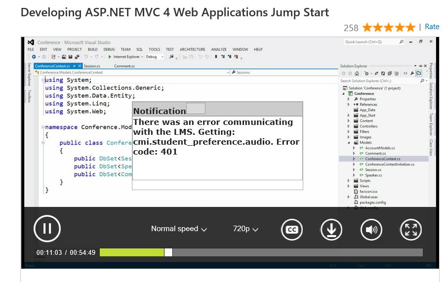 Error Online Course Mvc Jumpstart Training Certification And