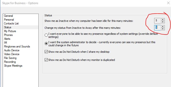 Lync 2010 Server - Status/Idle Time Restriction - Microsoft