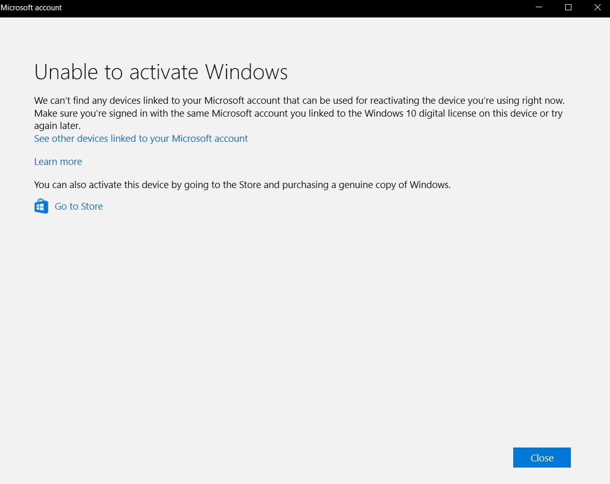 Windows 10 Pro Digital License Activation not working