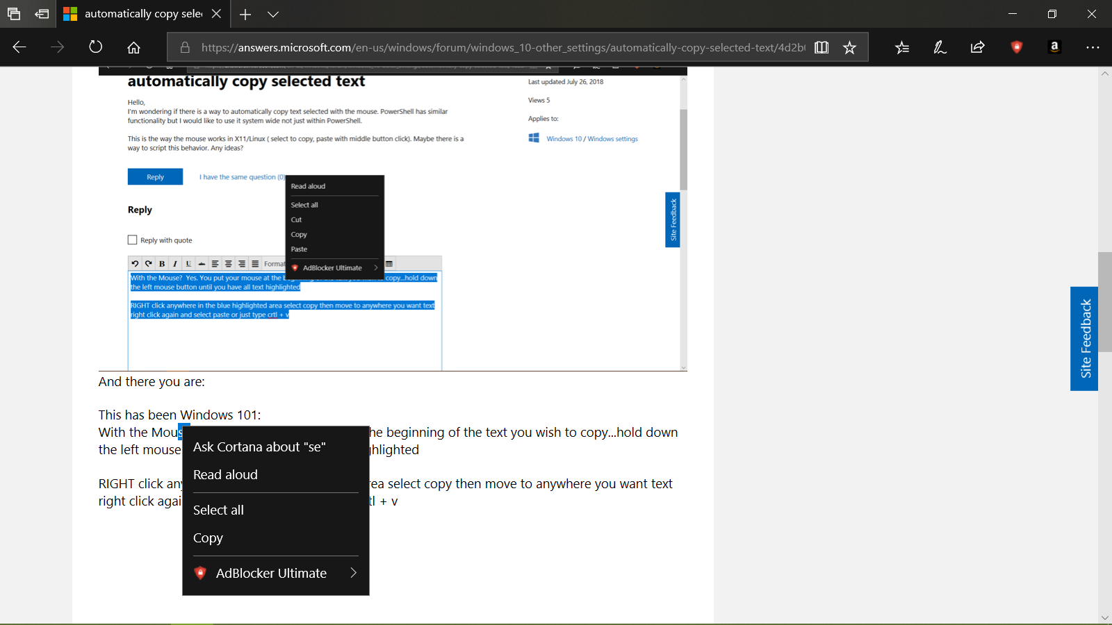 automatically copy selected text - Microsoft Community