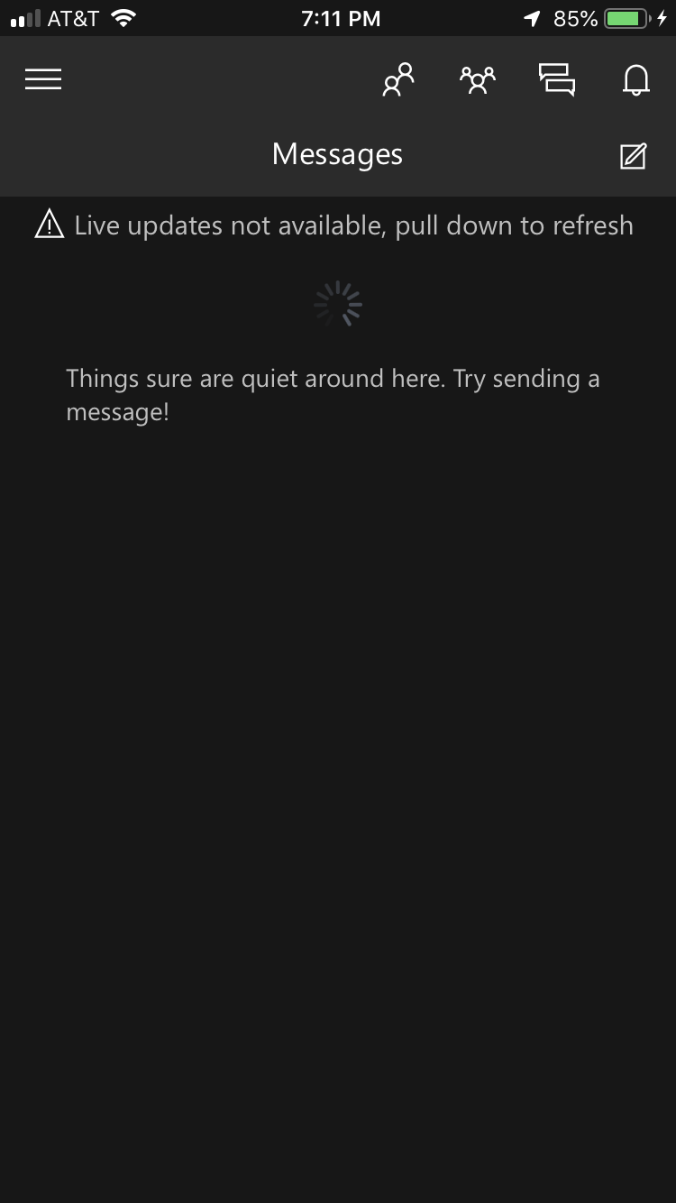 Xbox app messages | Live update not available [IMG]