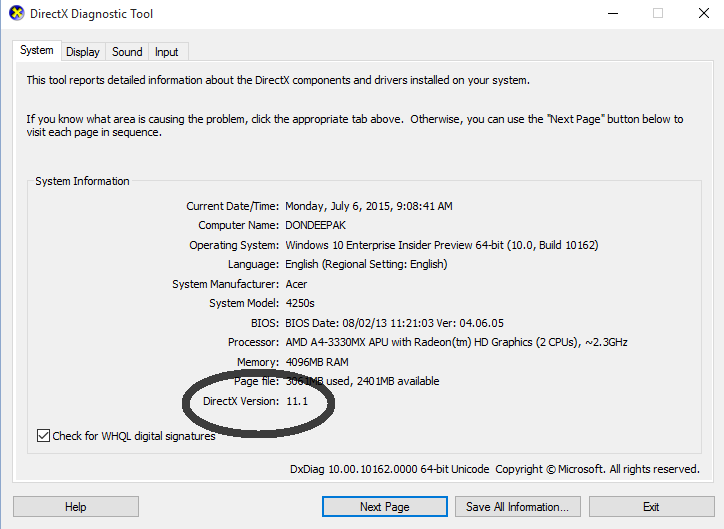 In Windows 10 DirectX version is 11.1 ?? - Microsoft Community