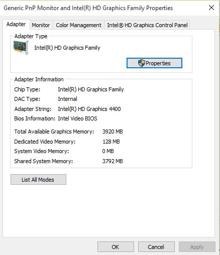 Windows 10 not recognising my graphics memory (Intel HD graphics