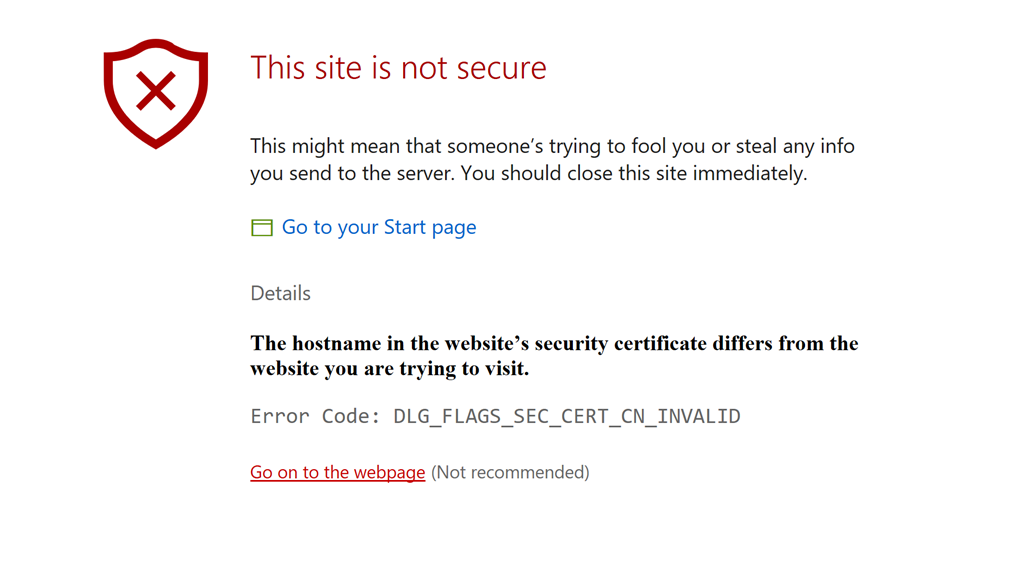 The Websites Security Certificate Is Not Secure Error Code 0