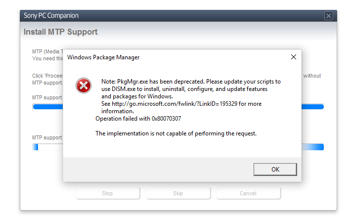 Windows Package Manager Error Message With 0x80070307 Error Code