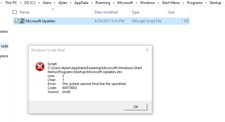 Windows 10 - Script Error popping up every time I start or