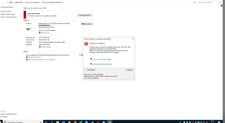 Windows 10 Backup Error -