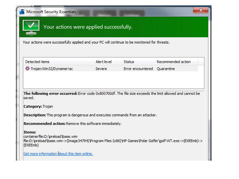 Ran MS Security Essentials. Confused with result. - Microsoft Community
