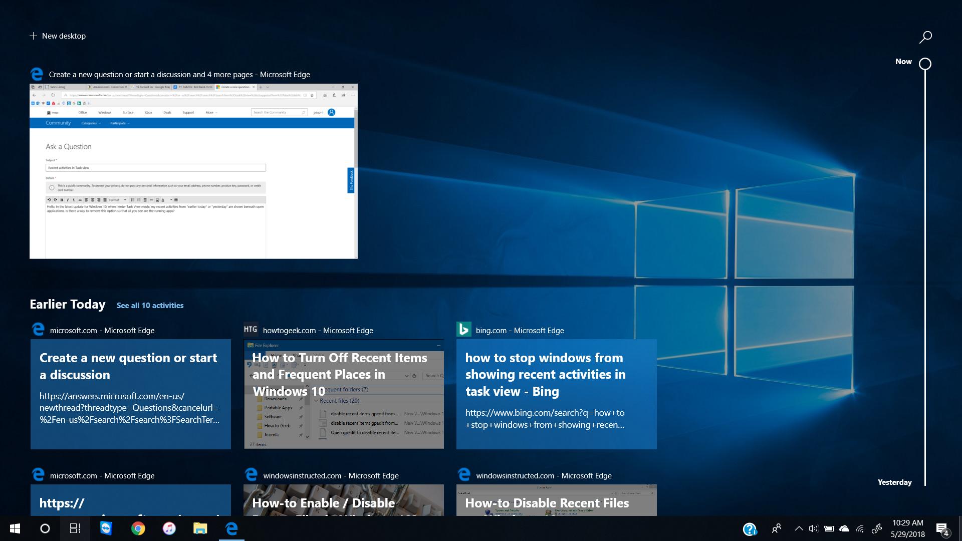 Recent activities in Task view   Microsoft Community