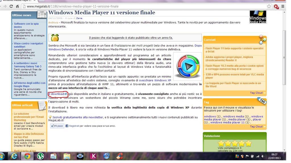 convalida microsoft media player 11