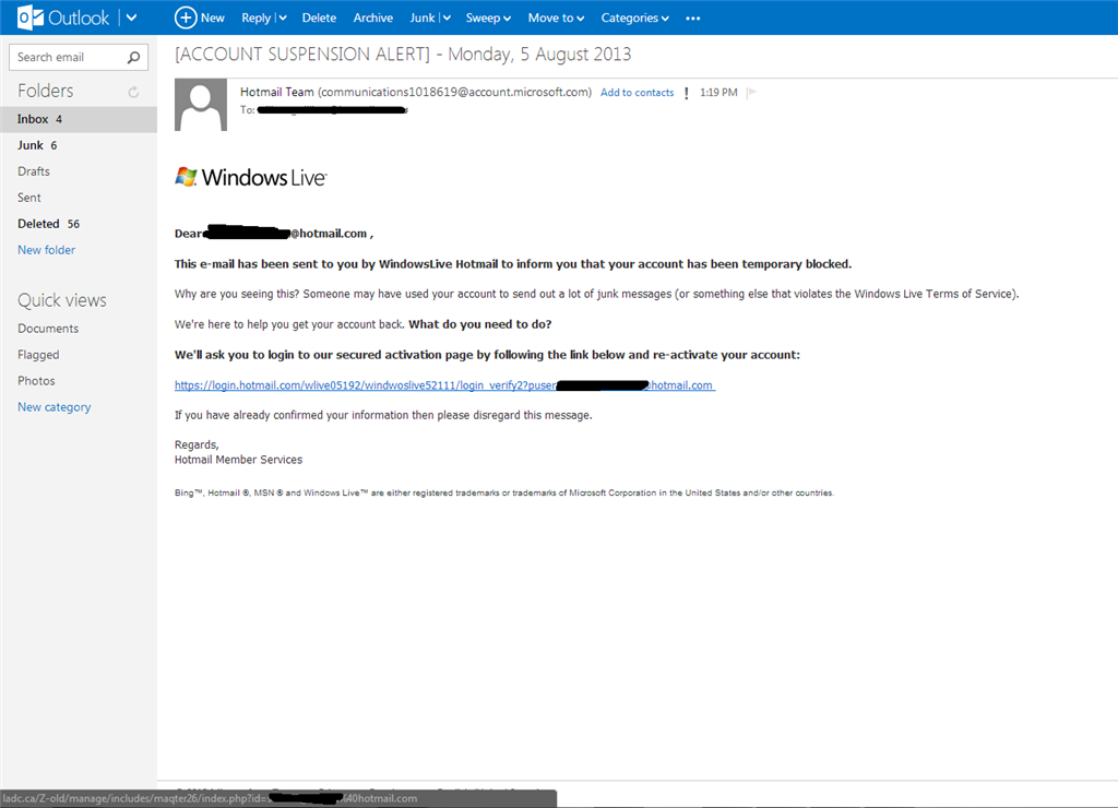 An Email From The Hotmail Team Regarding To Account