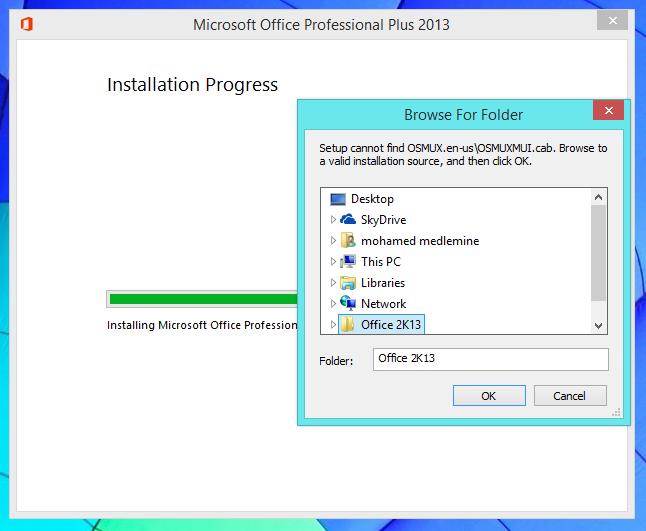 ms office 2013 install error