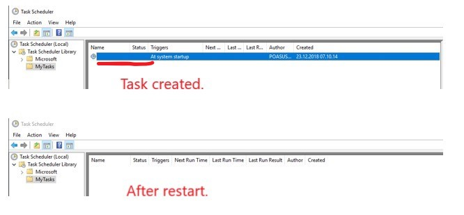 Build 18305 1003: Task scheduler doesn't work correctly
