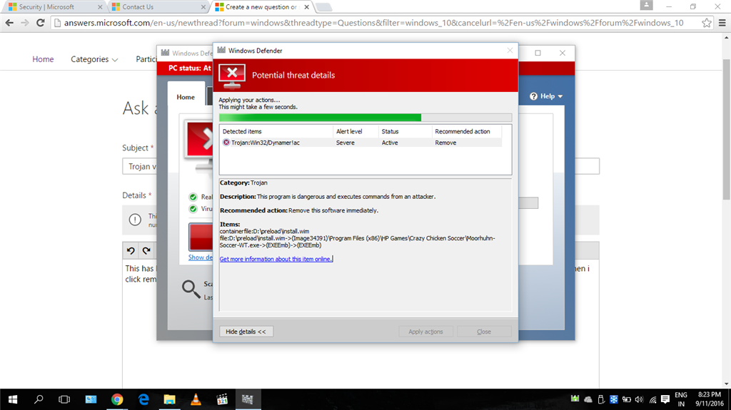 Trojan virus unable to remove. Reads: WIN32/Dynamer!ac - Microsoft