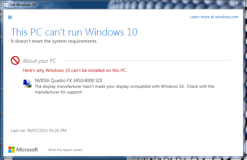 PC can't run windows 10 - Disp Driver incomaptibility - Microsoft